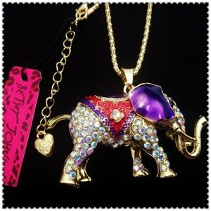 Purple elephant Pendant charm Sweater necklace